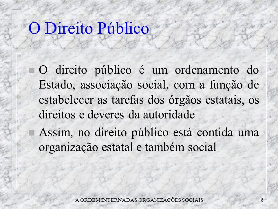 A ORDEM INTERNA DAS ORGANIZAÇÕES SOCIAIS8 O Direito Público n O direito público é um ordenamento do Estado, associação social, com a função de estabel