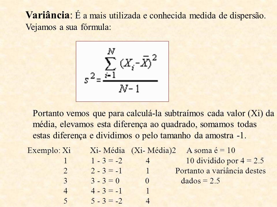 Variância: É a mais utilizada e conhecida medida de dispersão. Vejamos a sua fórmula: Portanto vemos que para calculá-la subtraímos cada valor (Xi) da