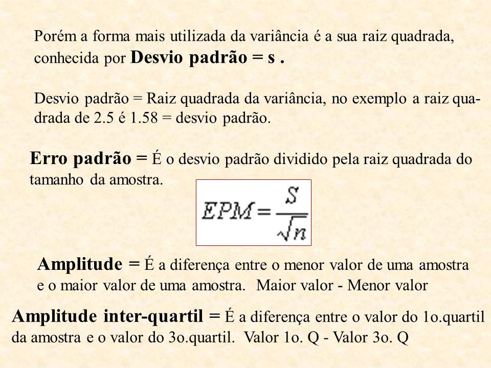 Porém a forma mais utilizada da variância é a sua raiz quadrada, conhecida por Desvio padrão = s. Desvio padrão = Raiz quadrada da variância, no exemp