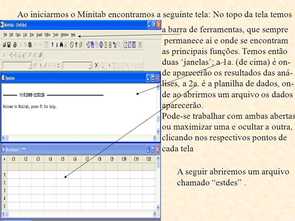 Ao iniciarmos o Minitab encontramos a seguinte tela: No topo da tela temos a barra de ferramentas, que sempre permanece aí e onde se encontram as principais funções.