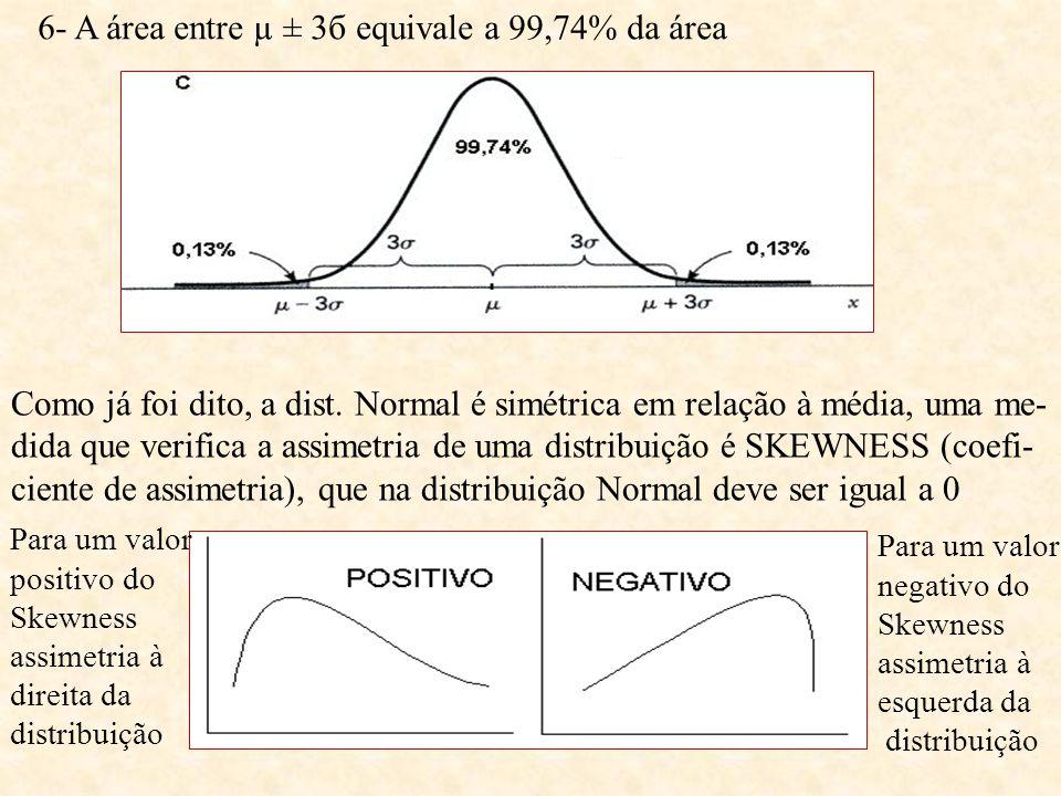 6- A área entre µ ± 3б equivale a 99,74% da área Como já foi dito, a dist. Normal é simétrica em relação à média, uma me- dida que verifica a assimetr