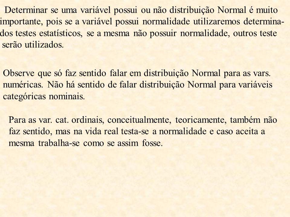 Determinar se uma variável possui ou não distribuição Normal é muito importante, pois se a variável possui normalidade utilizaremos determina- dos testes estatísticos, se a mesma não possuir normalidade, outros teste serão utilizados.