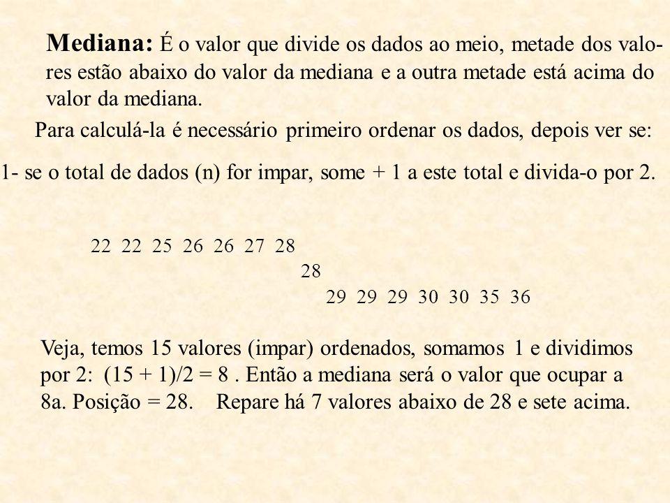 Mediana: É o valor que divide os dados ao meio, metade dos valo- res estão abaixo do valor da mediana e a outra metade está acima do valor da mediana.