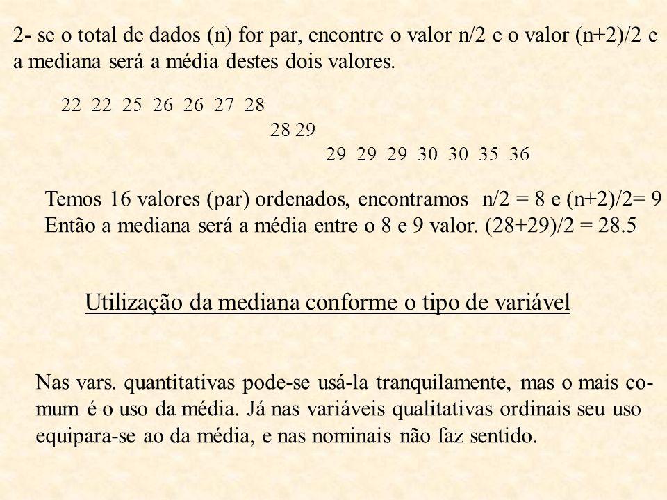 2- se o total de dados (n) for par, encontre o valor n/2 e o valor (n+2)/2 e a mediana será a média destes dois valores. 22 22 25 26 26 27 28 28 29 29