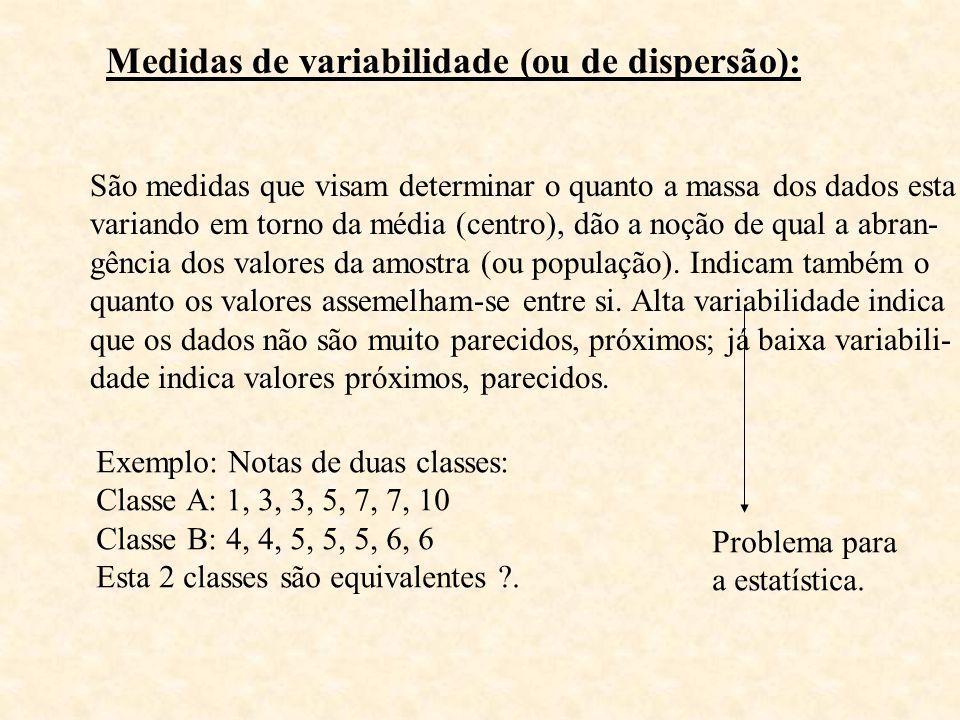 Medidas de variabilidade (ou de dispersão): São medidas que visam determinar o quanto a massa dos dados esta variando em torno da média (centro), dão
