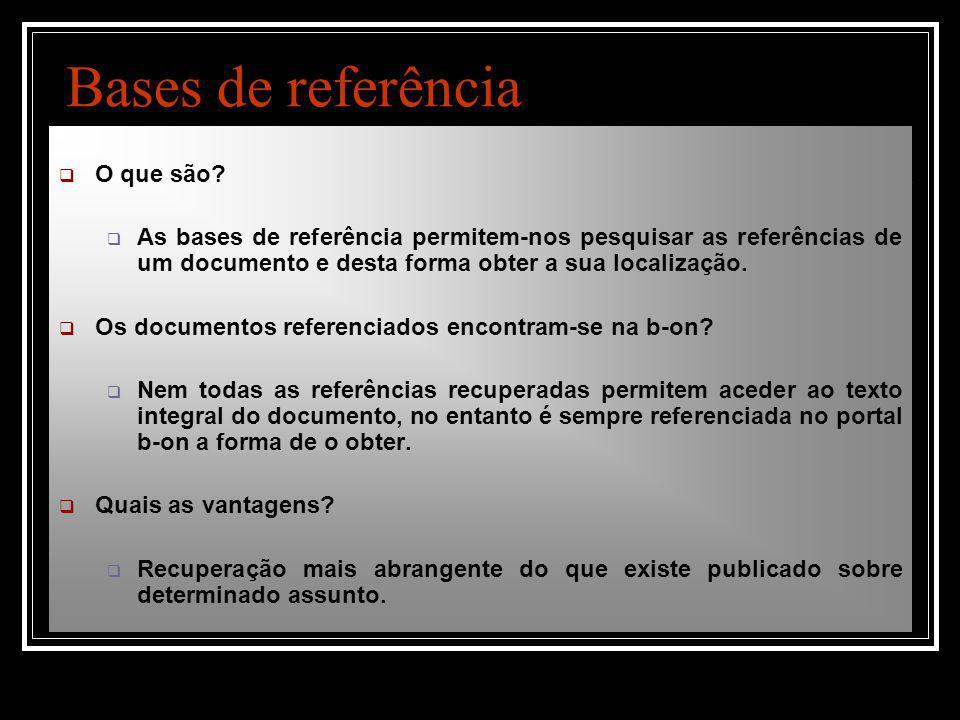 Bases de referência  O que são.