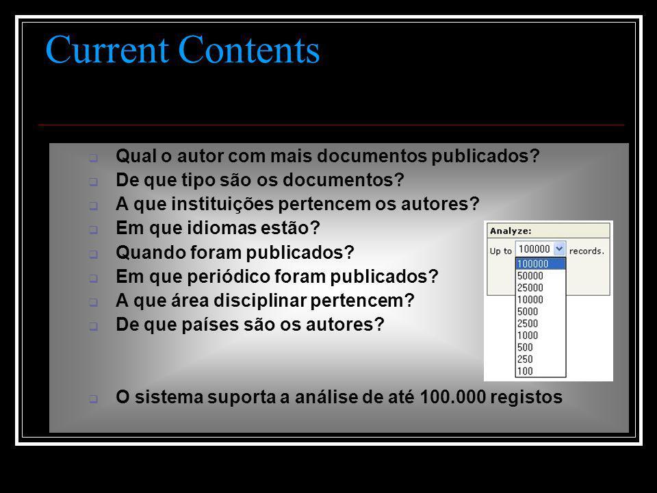 Current Contents  Qual o autor com mais documentos publicados.