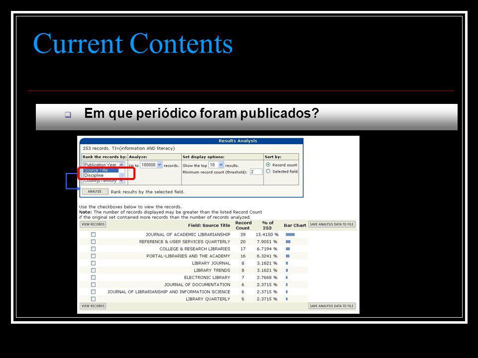 Current Contents  Em que periódico foram publicados