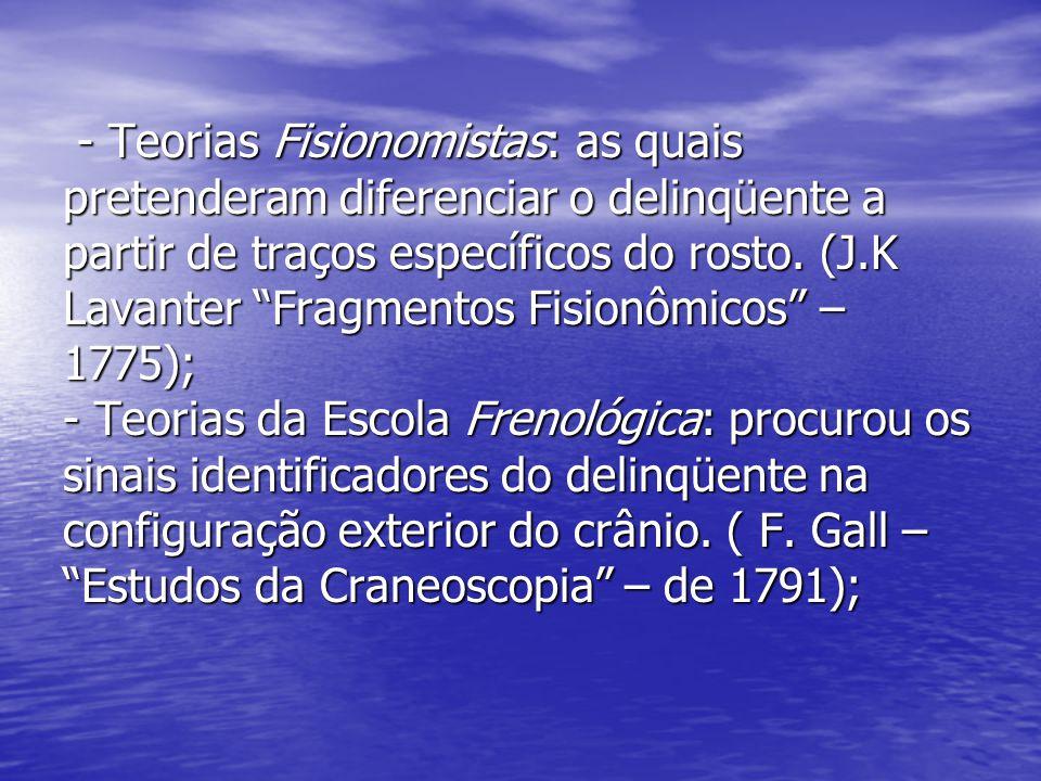 """- Teorias Fisionomistas: as quais pretenderam diferenciar o delinqüente a partir de traços específicos do rosto. (J.K Lavanter """"Fragmentos Fisionômico"""