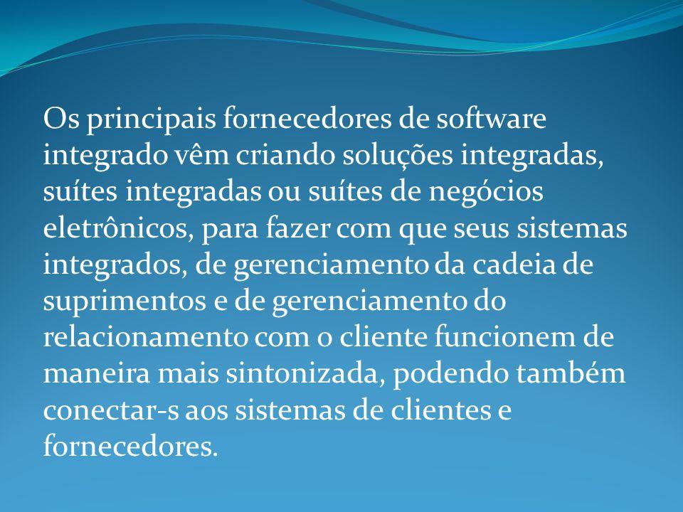 Os principais fornecedores de software integrado vêm criando soluções integradas, suítes integradas ou suítes de negócios eletrônicos, para fazer com