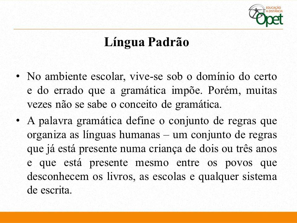 Língua Padrão No ambiente escolar, vive-se sob o domínio do certo e do errado que a gramática impõe. Porém, muitas vezes não se sabe o conceito de gra