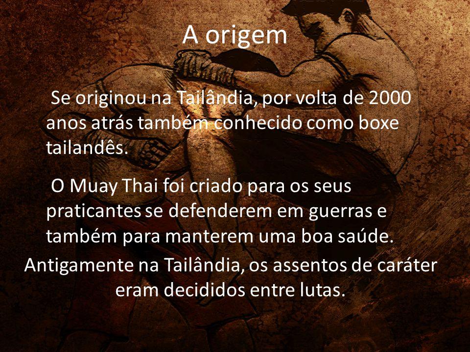 A origem Se originou na Tailândia, por volta de 2000 anos atrás também conhecido como boxe tailandês. O Muay Thai foi criado para os seus praticantes