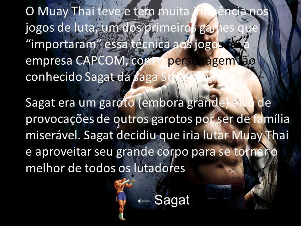 """O Muay Thai teve e tem muita influência nos jogos de luta, um dos primeiros games que """"importaram"""" essa técnica aos jogos foi a empresa CAPCOM, com o"""