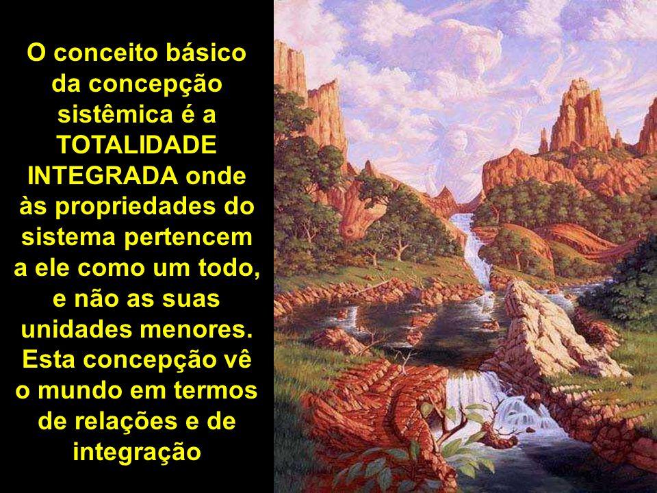 O conceito básico da concepção sistêmica é a TOTALIDADE INTEGRADA onde às propriedades do sistema pertencem a ele como um todo, e não as suas unidades