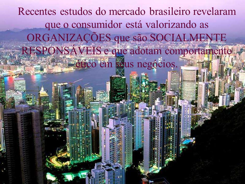 Recentes estudos do mercado brasileiro revelaram que o consumidor está valorizando as ORGANIZAÇÕES que são SOCIALMENTE RESPONSÁVEIS e que adotam comportamento ético em seus negócios.