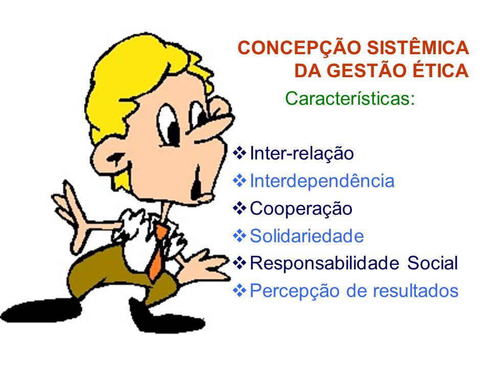 CONCEPÇÃO SISTÊMICA DA GESTÃO ÉTICA Características:  Inter-relação  Interdependência  Cooperação  Solidariedade  Responsabilidade Social  Percepção de resultados