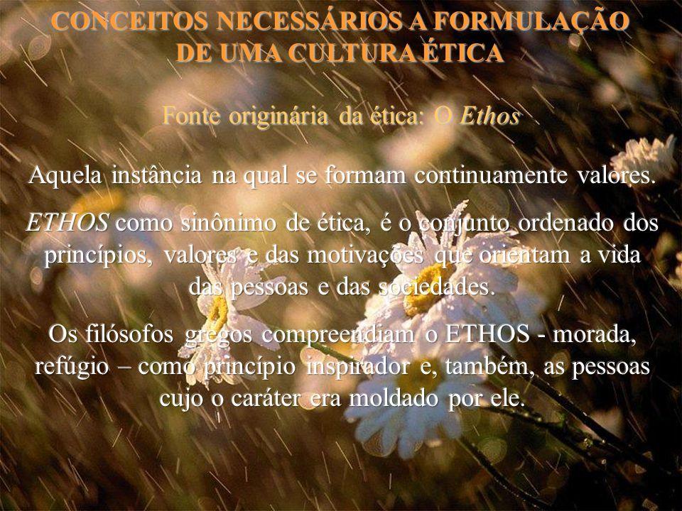 CONCEITOS NECESSÁRIOS A FORMULAÇÃO DE UMA CULTURA ÉTICA Fonte originária da ética: O Ethos
