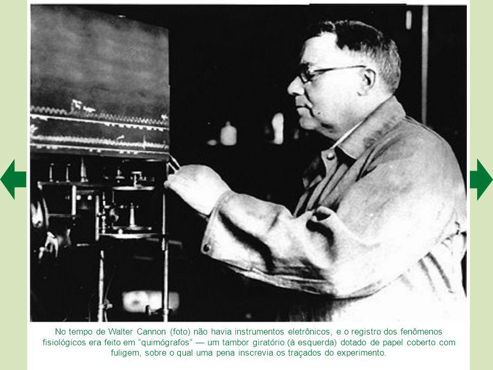 No tempo de Walter Cannon (foto) não havia instrumentos eletrônicos, e o registro dos fenômenos fisiológicos era feito em quimógrafos — um tambor giratório (à esquerda) dotado de papel coberto com fuligem, sobre o qual uma pena inscrevia os traçados do experimento.