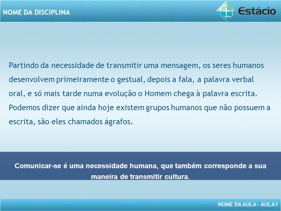 NOME DA AULA – AULA1 NOME DA DISCIPLINA Partindo da necessidade de transmitir uma mensagem, os seres humanos desenvolvem primeiramente o gestual, depo