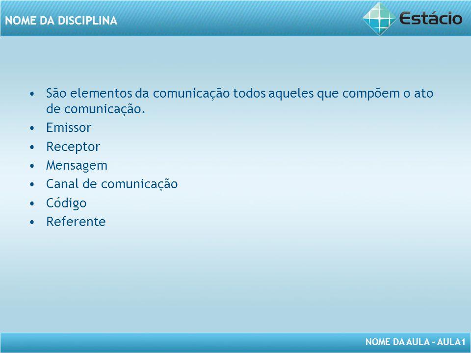 NOME DA AULA – AULA1 NOME DA DISCIPLINA São elementos da comunicação todos aqueles que compõem o ato de comunicação. Emissor Receptor Mensagem Canal d