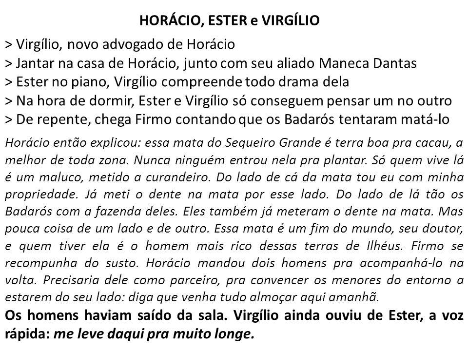 > Virgílio, novo advogado de Horácio > Jantar na casa de Horácio, junto com seu aliado Maneca Dantas > Ester no piano, Virgílio compreende todo drama
