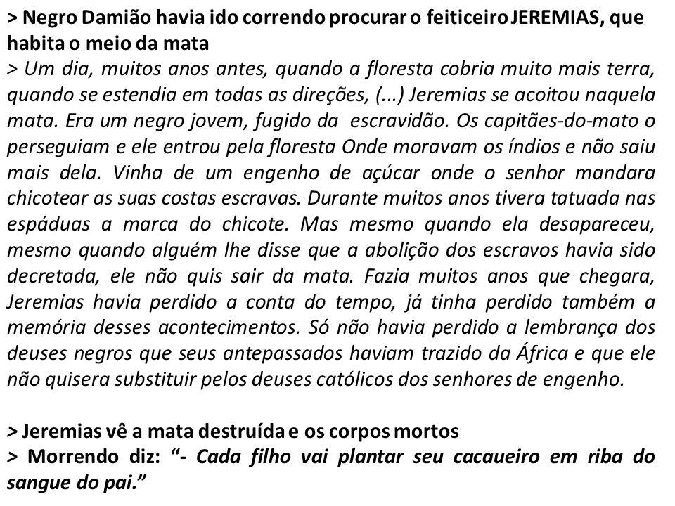 > Negro Damião havia ido correndo procurar o feiticeiro JEREMIAS, que habita o meio da mata > Um dia, muitos anos antes, quando a floresta cobria muit