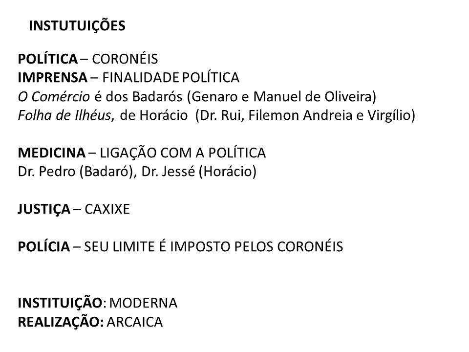 INSTUTUIÇÕES POLÍTICA – CORONÉIS IMPRENSA – FINALIDADE POLÍTICA O Comércio é dos Badarós (Genaro e Manuel de Oliveira) Folha de Ilhéus, de Horácio (Dr