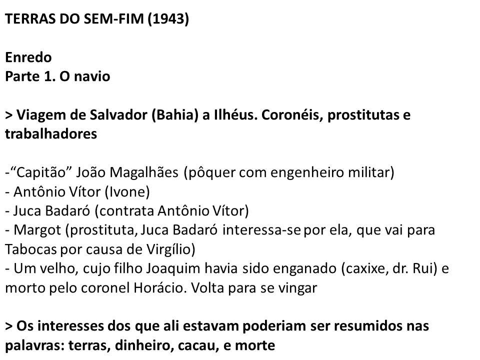 """TERRAS DO SEM-FIM (1943) Enredo Parte 1. O navio > Viagem de Salvador (Bahia) a Ilhéus. Coronéis, prostitutas e trabalhadores -""""Capitão"""" João Magalhãe"""