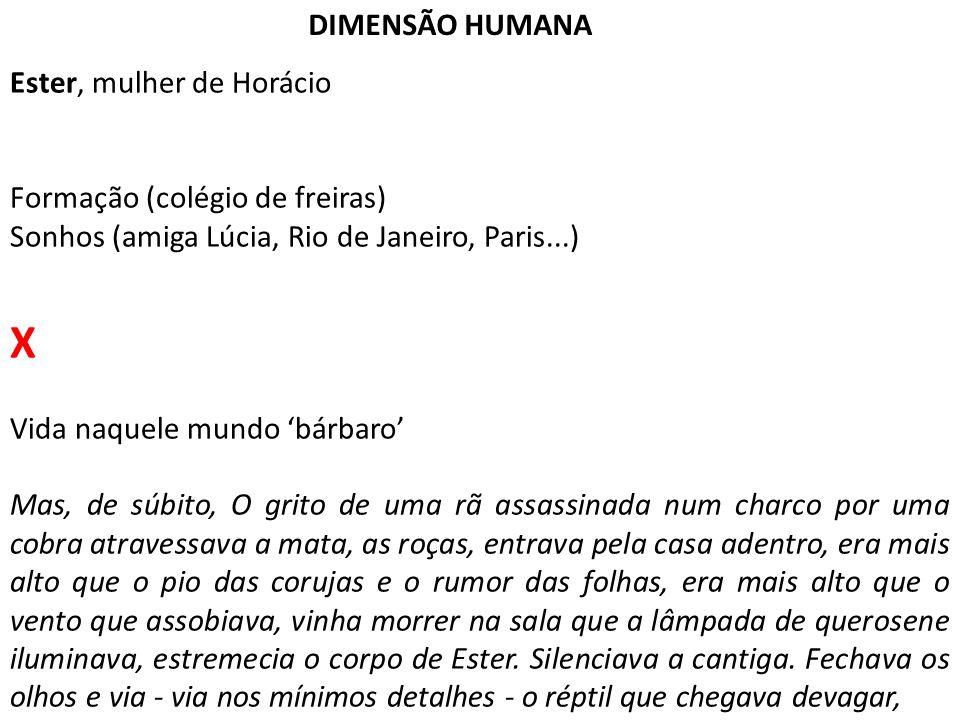 DIMENSÃO HUMANA Ester, mulher de Horácio Formação (colégio de freiras) Sonhos (amiga Lúcia, Rio de Janeiro, Paris...) X Vida naquele mundo 'bárbaro' M