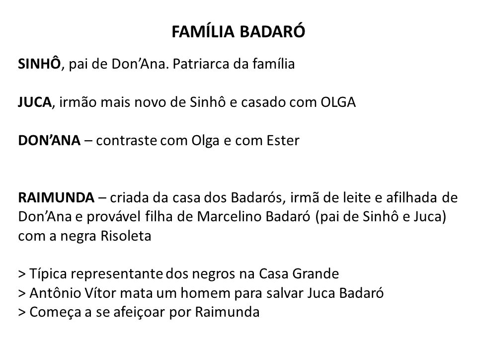 FAMÍLIA BADARÓ SINHÔ, pai de Don'Ana. Patriarca da família JUCA, irmão mais novo de Sinhô e casado com OLGA DON'ANA – contraste com Olga e com Ester R