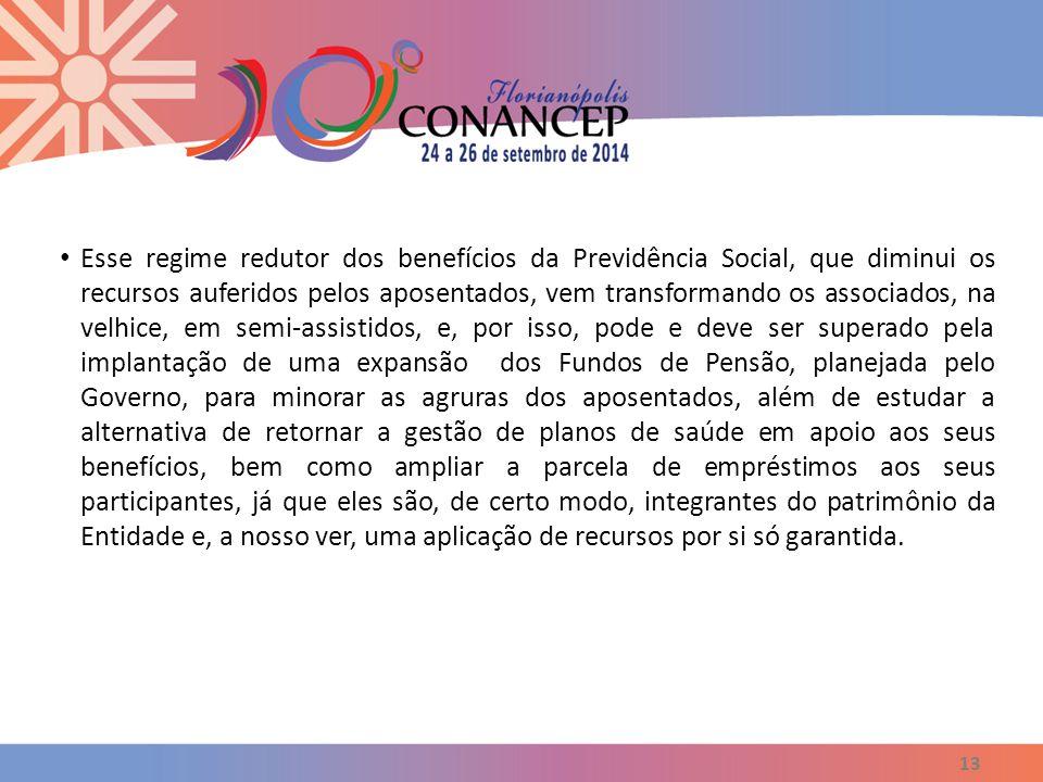 13 Esse regime redutor dos benefícios da Previdência Social, que diminui os recursos auferidos pelos aposentados, vem transformando os associados, na