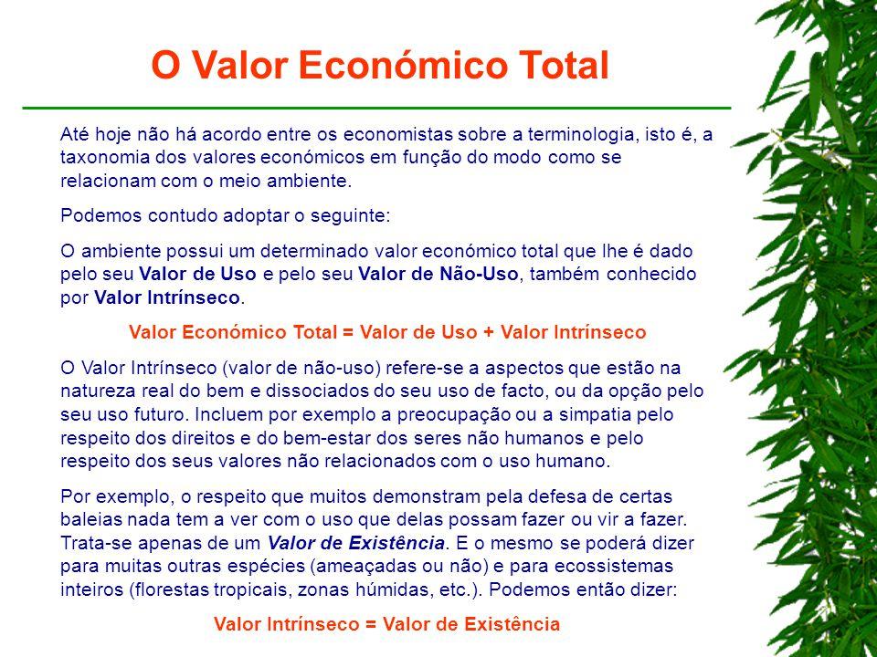 O Valor Económico Total Até hoje não há acordo entre os economistas sobre a terminologia, isto é, a taxonomia dos valores económicos em função do modo como se relacionam com o meio ambiente.