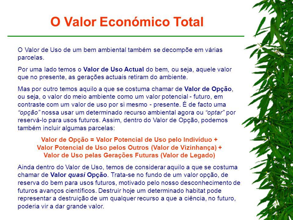 O Valor Económico Total O Valor de Uso de um bem ambiental também se decompõe em várias parcelas.