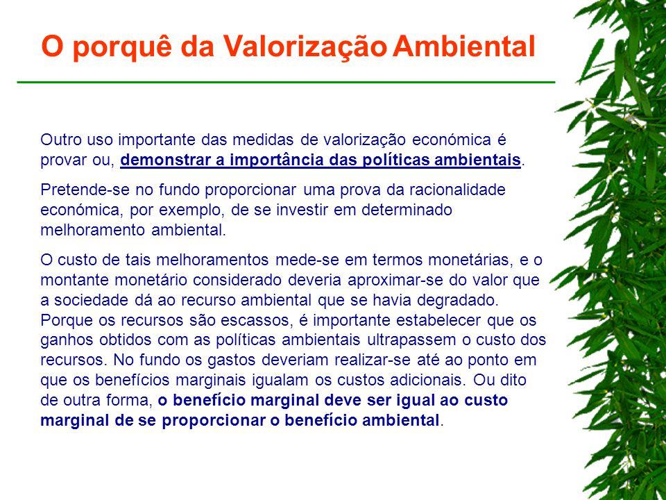 O porquê da Valorização Ambiental Outro uso importante das medidas de valorização económica é provar ou, demonstrar a importância das políticas ambientais.