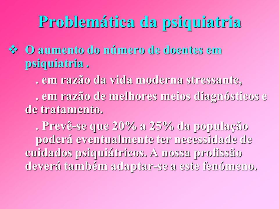 A problemática da psiquiatria No que toca particularmente à psiquiatria, a problemática é complexa.