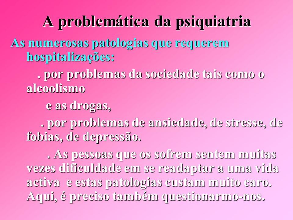 Problemática da psiquiatria  O aumento do número de doentes em psiquiatria.. em razão da vida moderna stressante,. em razão de melhores meios diagnós