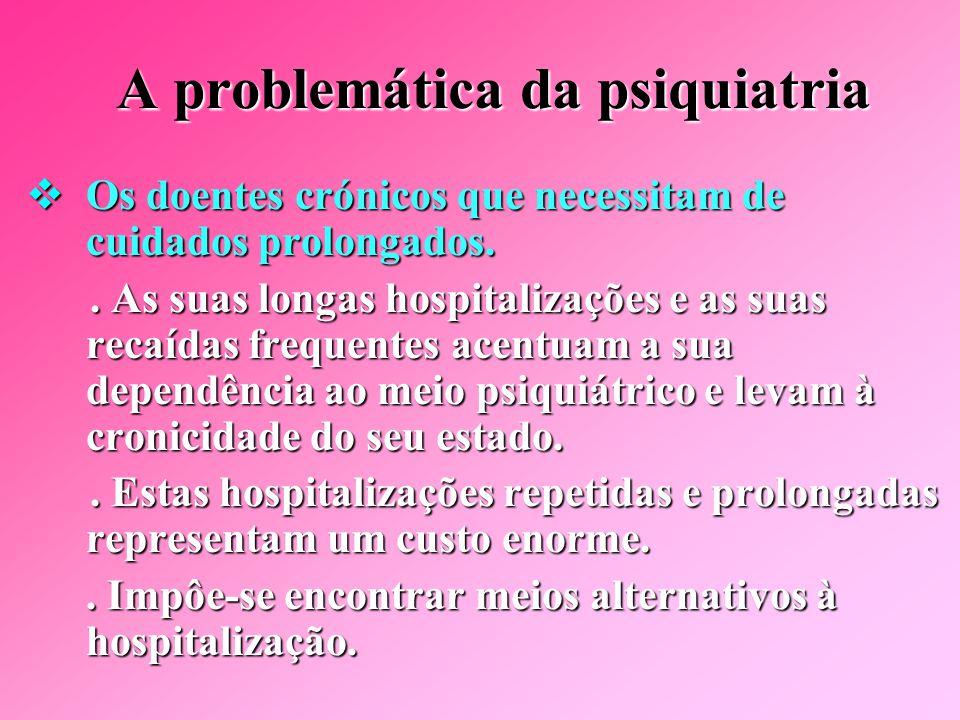 A problemática da psiquiatria As numerosas patologias que requerem hospitalizações: As numerosas patologias que requerem hospitalizações:.