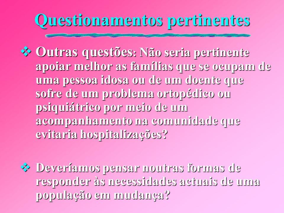 Questionamentos pertinentes  Também é preciso questionarmo-nos:  Será que a concentração hospitalar dos cuidados de enfermagem deve ainda continuar