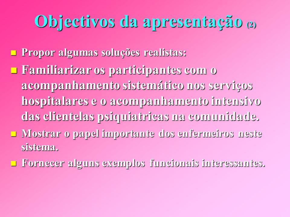 Objectivos da apresentação (1) Suscitar uma reflexão sobre certas problemáticas que ocorrem actualmente na sociedade, nos nossos meios de cuidados, particularmente em psiquiatria, do mesmo modo que no seio da nossa profissão.