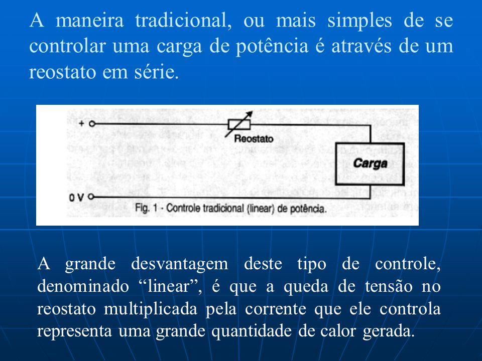 A maneira tradicional, ou mais simples de se controlar uma carga de potência é através de um reostato em série. A grande desvantagem deste tipo de con