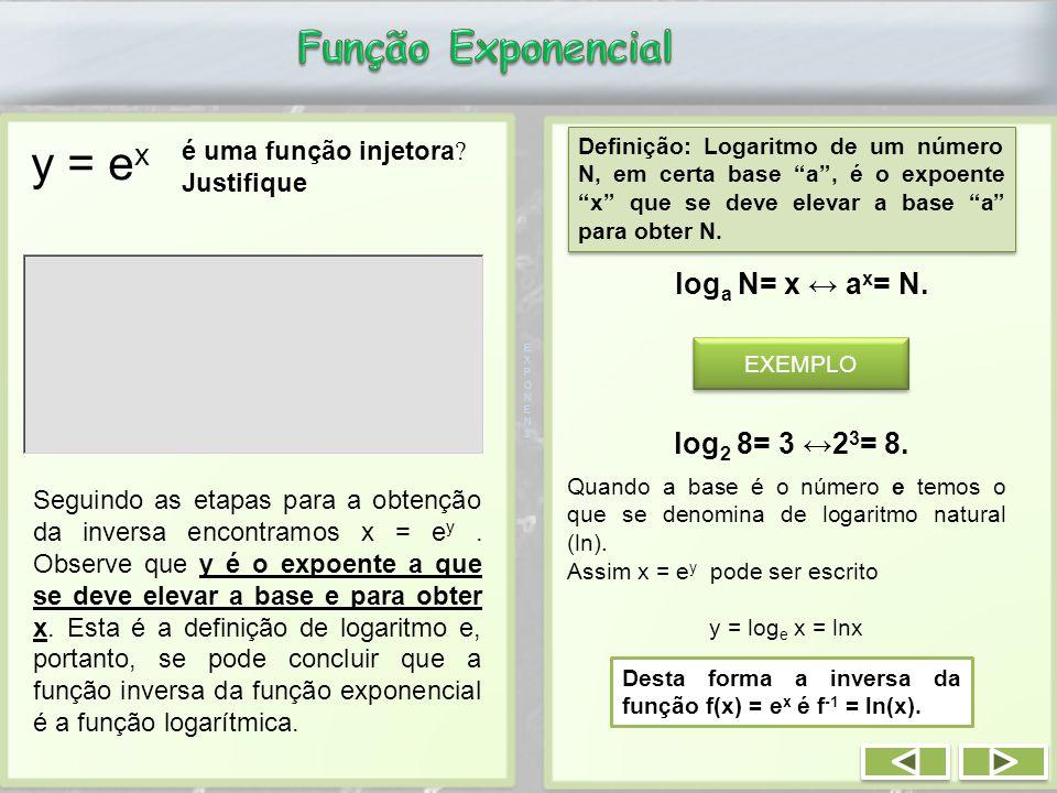 y = e x EXPONEN3EXPONEN3 é uma função injetora .