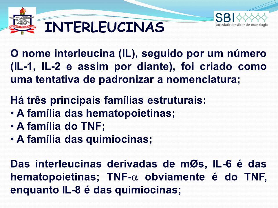 INTERLEUCINAS O nome interleucina (IL), seguido por um número (IL-1, IL-2 e assim por diante), foi criado como uma tentativa de padronizar a nomenclatura; Há três principais famílias estruturais: A família das hematopoietinas; A família do TNF; A família das quimiocinas; Das interleucinas derivadas de mØs, IL-6 é das hematopoietinas; TNF-  obviamente é do TNF, enquanto IL-8 é das quimiocinas;