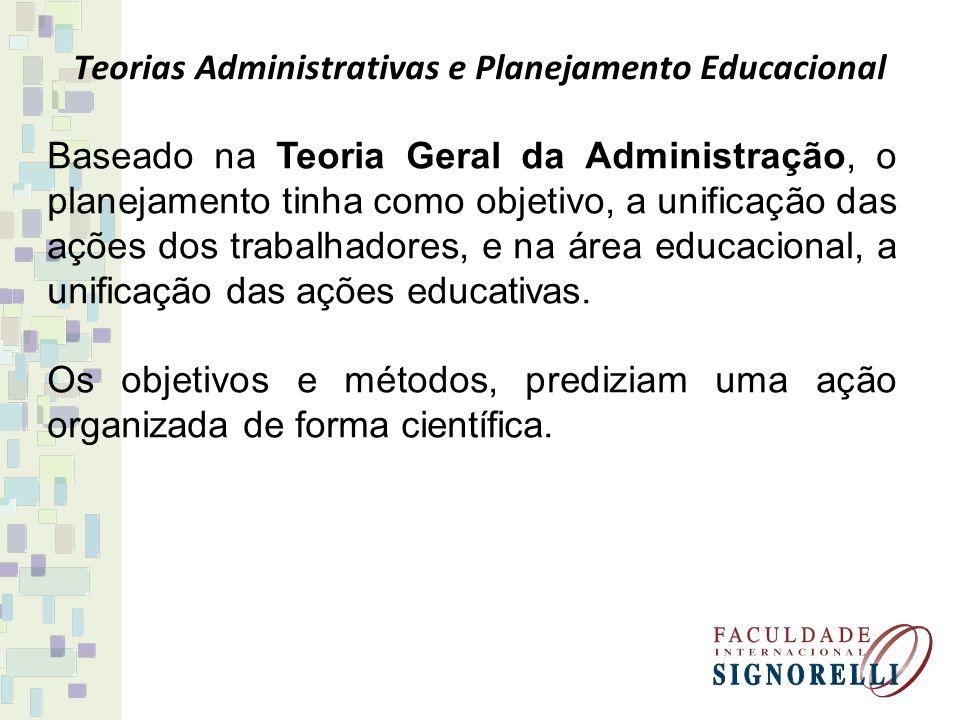 Teorias Administrativas e Planejamento Educacional Baseado na Teoria Geral da Administração, o planejamento tinha como objetivo, a unificação das açõe