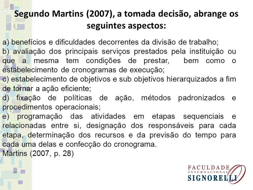 Segundo Martins (2007), a tomada decisão, abrange os seguintes aspectos: a) benefícios e dificuldades decorrentes da divisão de trabalho; b) avaliação