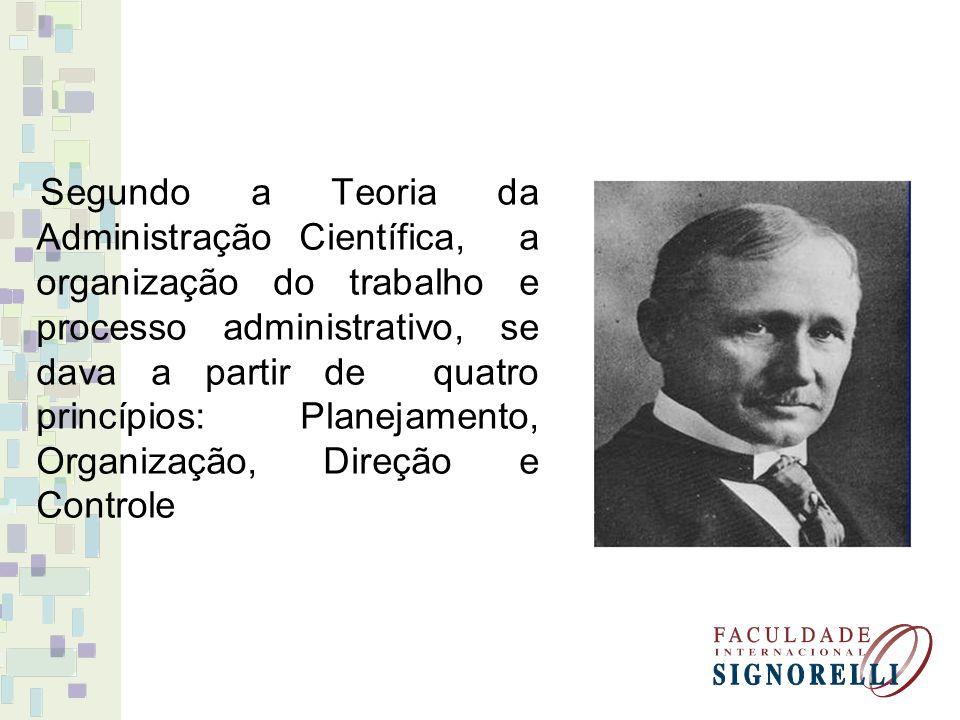 Segundo a Teoria da Administração Científica, a organização do trabalho e processo administrativo, se dava a partir de quatro princípios: Planejamento