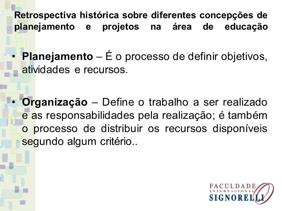 Retrospectiva histórica sobre diferentes concepções de planejamento e projetos na área de educação Planejamento – É o processo de definir objetivos, a