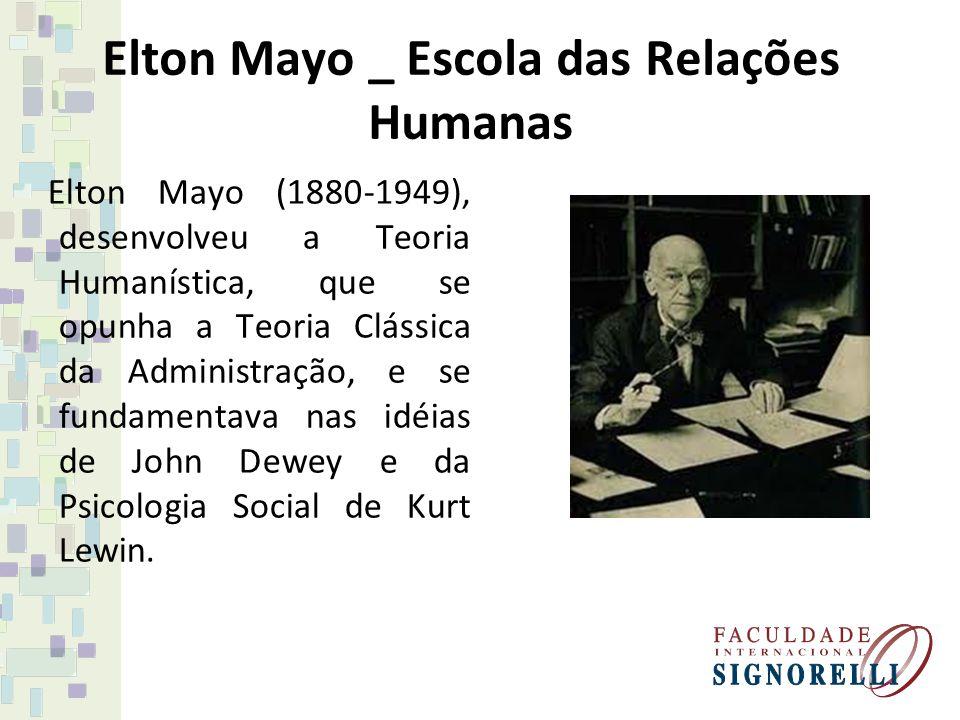 Elton Mayo _ Escola das Relações Humanas Elton Mayo (1880-1949), desenvolveu a Teoria Humanística, que se opunha a Teoria Clássica da Administração, e