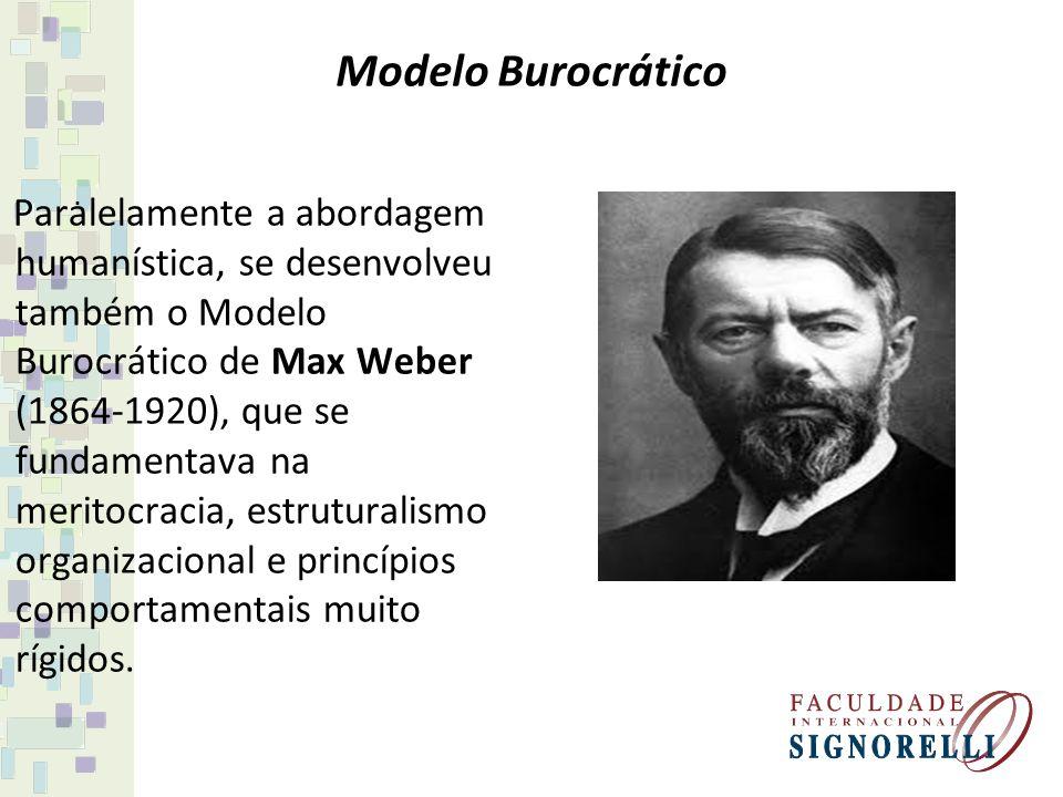 Modelo Burocrático Paralelamente a abordagem humanística, se desenvolveu também o Modelo Burocrático de Max Weber (1864-1920), que se fundamentava na