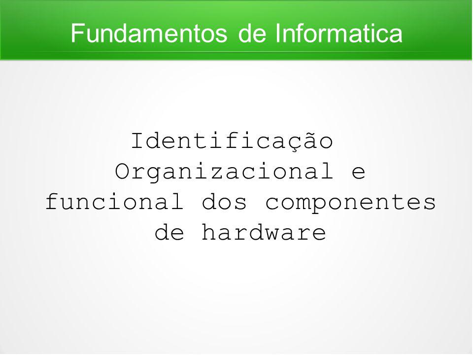 Fundamentos de Informatica Identificação Organizacional e funcional dos componentes de hardware