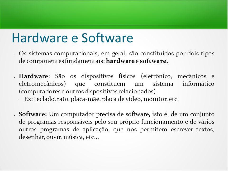 Hardware e Software  Os sistemas computacionais, em geral, são constituídos por dois tipos de componentes fundamentais: hardware e software.  Hardwa
